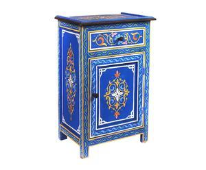 Mesita de noche de madera de cedro pintada a mano Sumatra – azul