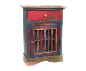Mesita de noche de madera reciclada pintada a mano Eka
