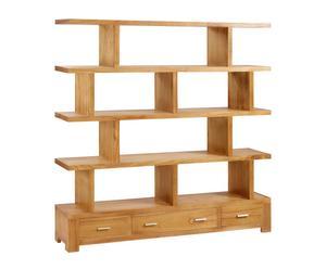Librería-separador de madera con 3 cajones - natural (B422 - B78)