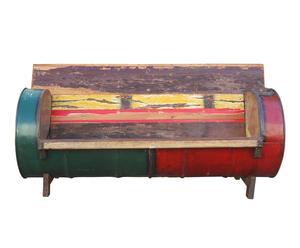 Sofá de madera y metal de 2 plazas Recycle