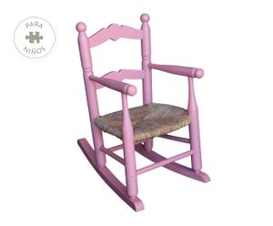 Mecedora infantil de chopo y anea, rosa - 34x34 cm