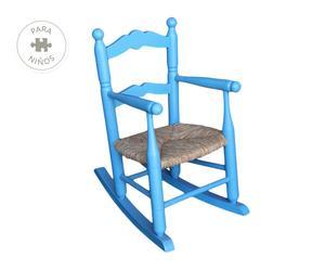Mecedora infantil de chopo y anea, azul claro - 34x34 cm