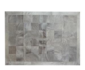Alfombra de piel de toro normando con ribete, gris claro I - 200x300 cm