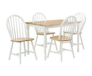 Set de mesa y 4 sillas en madera de caucho - blanco y natural