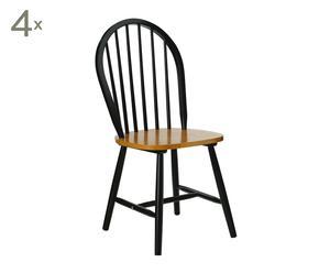 Set de 4 sillas en madera de caucho - negro