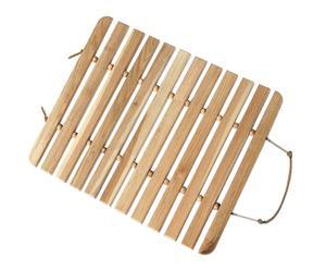 Alfombra de ducha en madera de nogal - natural