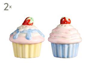 Set de 2 saleros y 2 pimenteros de cerámica Cupcake