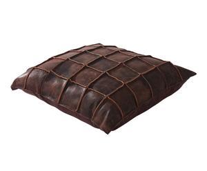 Cojín de cuero, marrón - 45x45 cm