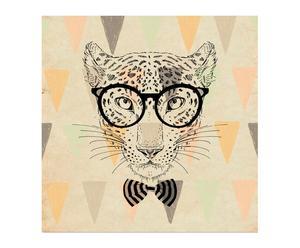 Lienzo de tela y madera Hipster Tiger