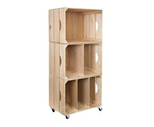 Estantería de madera con 3 módulos con ruedas Shabby - natural