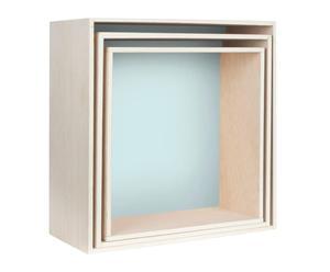 Set de 3 estantes cuadrados I - aguamarina