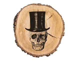 Disco de madera natural Skull - ø30cm