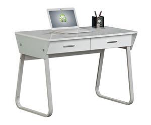 Mesa de ordenador de cristal y metal - blanco