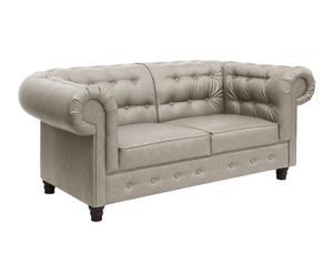 Sofá de 2 plazas en símil piel Tussor – gris perla