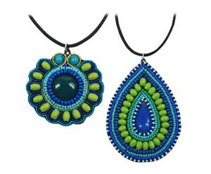 Set de 2 collares hechos a mano en resina – azul y verde