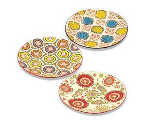 Set de 3 platos en cerámica I - multicolor