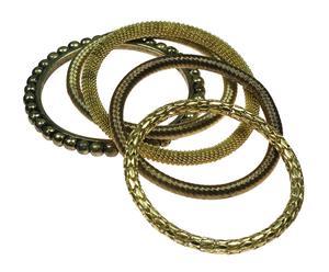 Set de 5 brazaletes de metal - multicolor