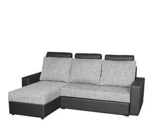 Sofá de 3 plazas con cama y chaise logue izquierdo Rio – gris y negro