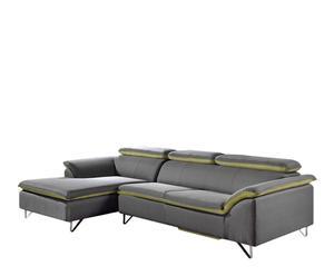 Sofá de 3 plazas con chaise longue izquierdo Sevilla – verde y gris