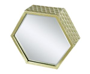 Espejo hexagonal de metal