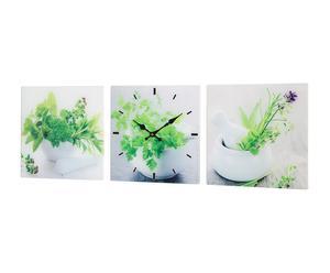 Tríptico de tres cuadros decorativos con reloj Plantas – 30x30cm