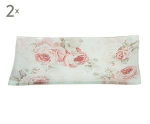 Set de 2 bandejas de cristal Rosas