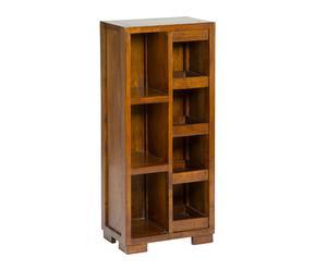 Estantería para CD's y DVD's en madera de acacia - nogal