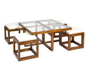 Set de mesa de centro con 4 taburetes
