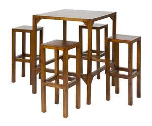 Set de mesa y 4 taburetes en madera de acacia - marrón
