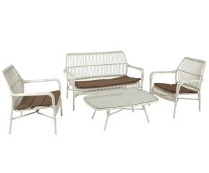 Set de terraza con mesa, sofá y 2 sillas - blanco y marrón