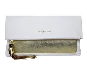 Bolso de mano de piel - blanco y dorado