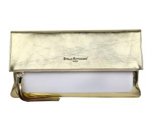 Bolso de mano de piel  - dorado y blanco
