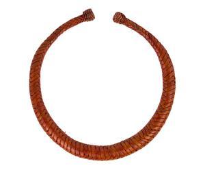 Collar trenzado de cuero - rojo