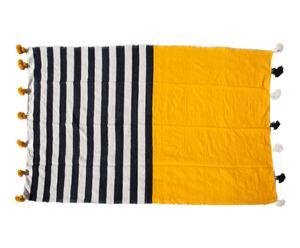 Manta de lana con pompones - 250x167 cm