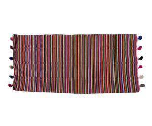 Manta de lana con pompones - 286x156 cm