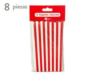 Set de 8 envases de papel Popcorn - rojo y blanco