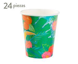 Set de 24 vasos de papel Tropical