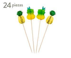 Set de 24 pinchos decorativas de papel Pineapple
