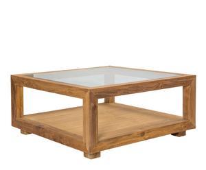 Mesa de centro en madera de teca y cristal Andrea - natural
