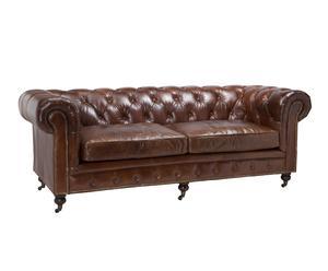 Sofá de cuero Kensington - marrón