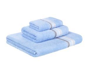 Set de 3 toallas en algodón peinado Narva, azul II - 500 gr/m2