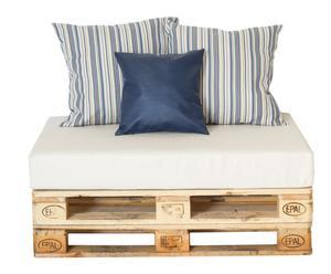Sofá impermeable con cojines decorativos - madera natural y blanco