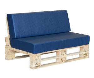 Sofá relax impermeable con palet en respaldo - madera natural y azul