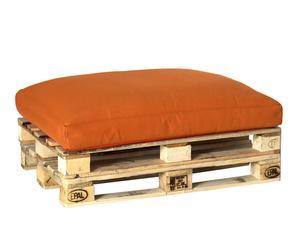 Puf impermeable - madera natural y naranja