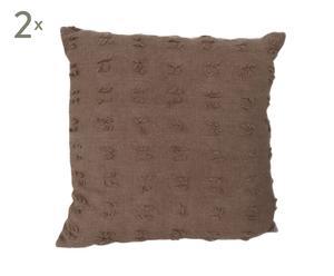 Set de 2 cojines de lana, marrón - 40x40 cm