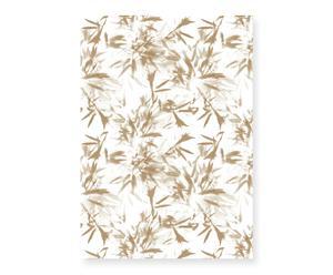 Papel pintado Bambú Grew - blanco y dorado