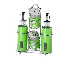 Set de aliño en metal, Verde – 4 piezas