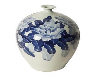 Jarrón esférico en cerámica pintada Flores - azul y blanco