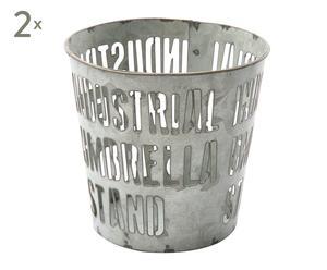 Set de 2 portalápices de metal - plata