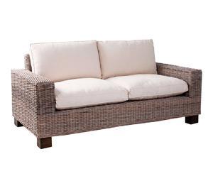 Sofá de madera de mango con cojines de algodón - natural